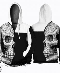 Sugar skull all over printed hoodie