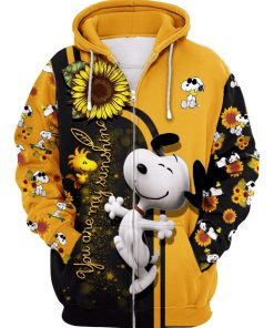 Sunflower you are my sunshine snoopy all over print zip hoodie