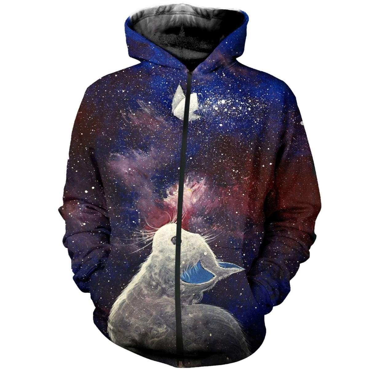The butterfly soul of cat all over print zip hoodie