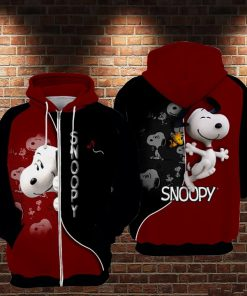 The charlie brown and snoopy full printing zip hoodie 1