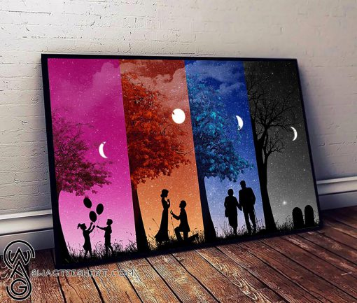 The four stages of love childhood youth eld and death poster