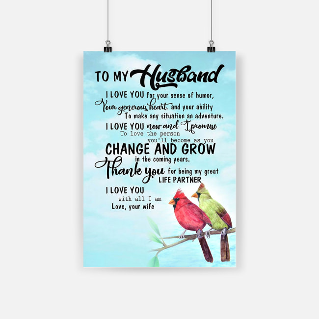 To my husband thank you for being my great life partner cardinal poster 2