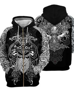 Viking all over print zip hoodie