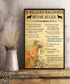 A belgian malinois's house rules poster
