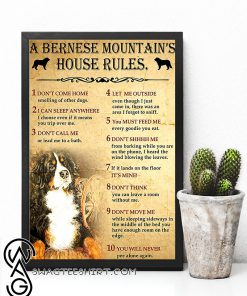 A bernese mountain's house rules poster