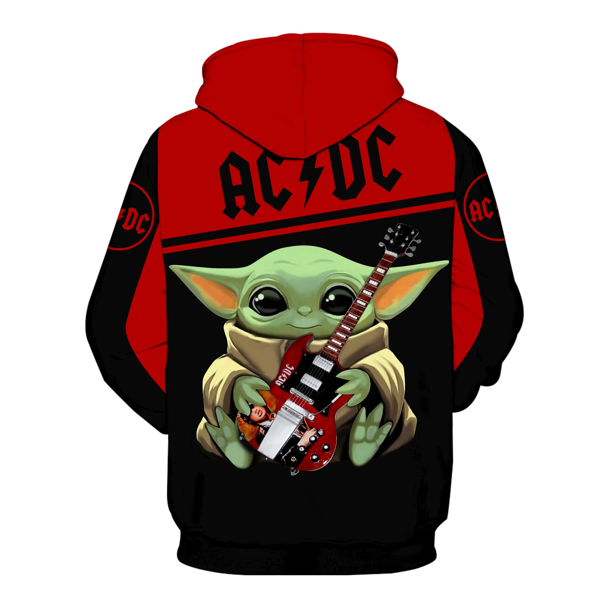 ACDC baby yoda all over print hoodie - back