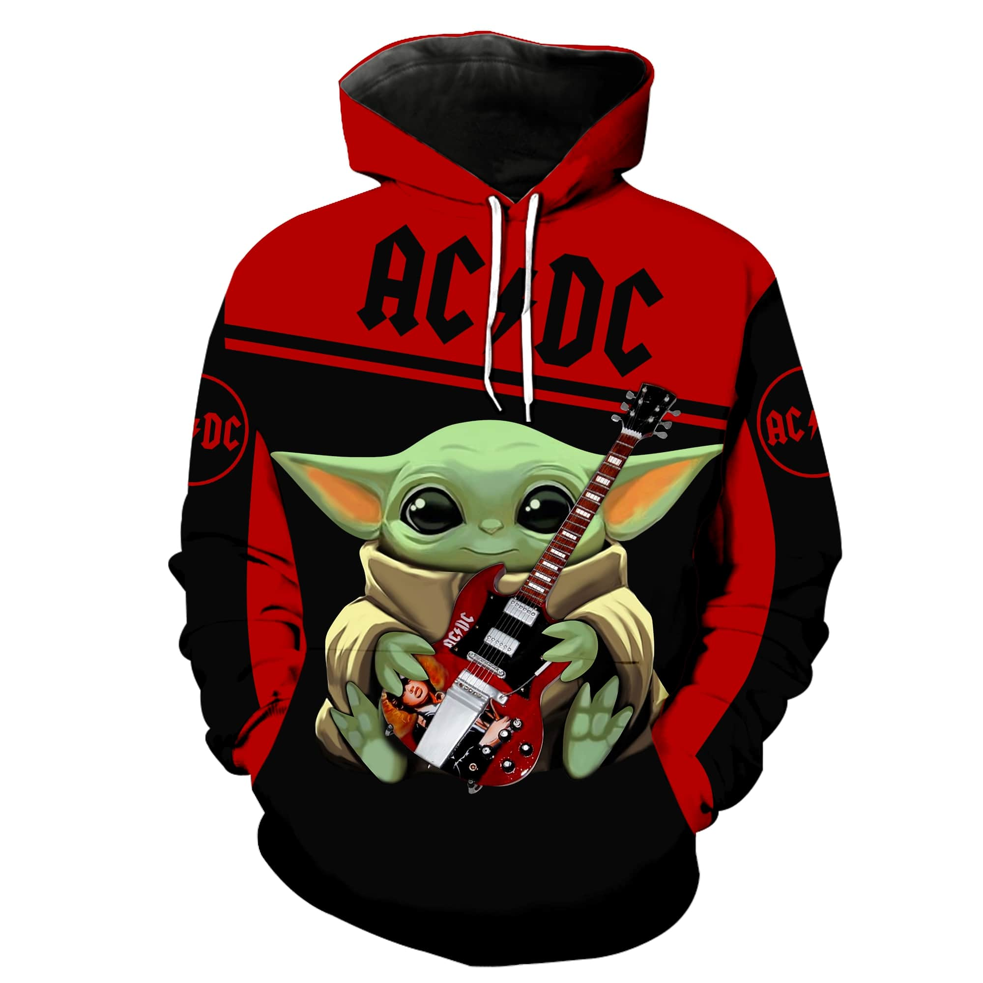 ACDC baby yoda all over print hoodie