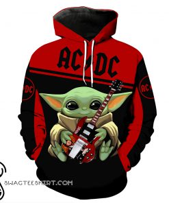 ACDC baby yoda all over print shirt