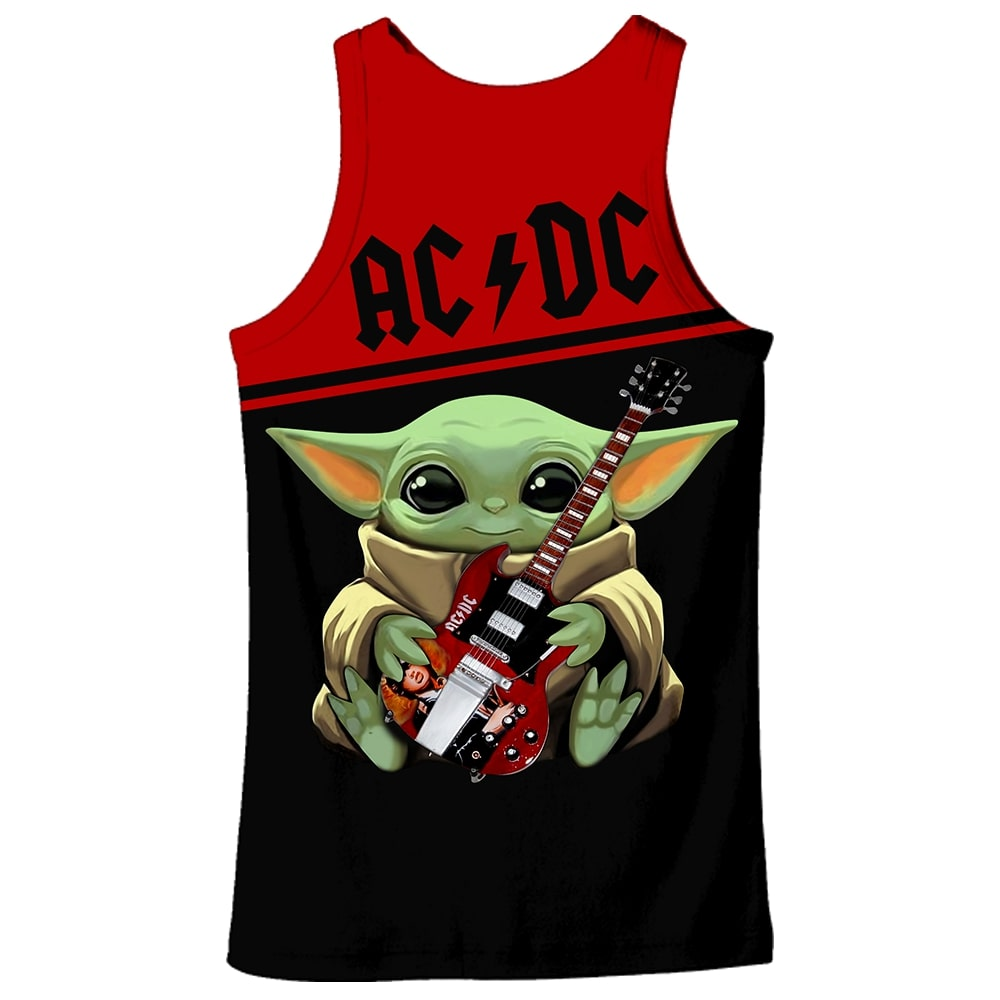 ACDC baby yoda all over print tank top - back