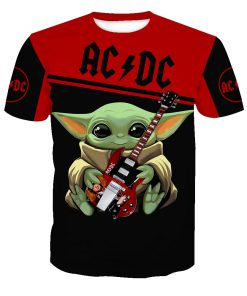 ACDC baby yoda all over print tshirt
