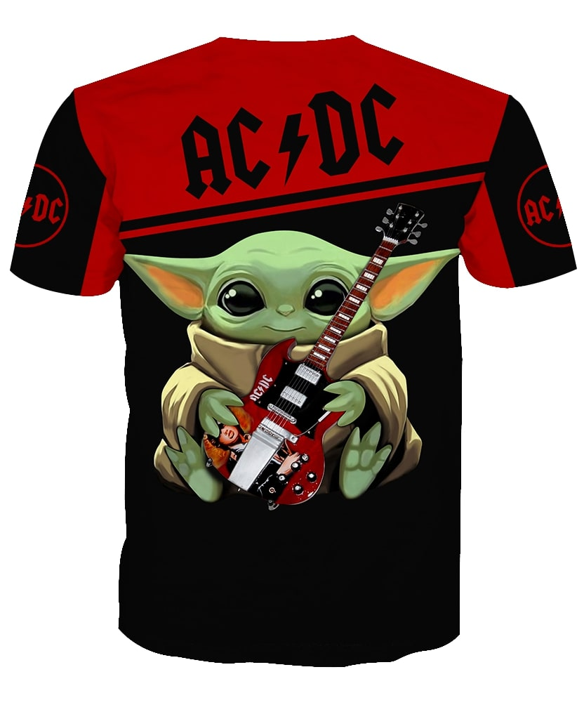 ACDC baby yoda all over print tshirt - back