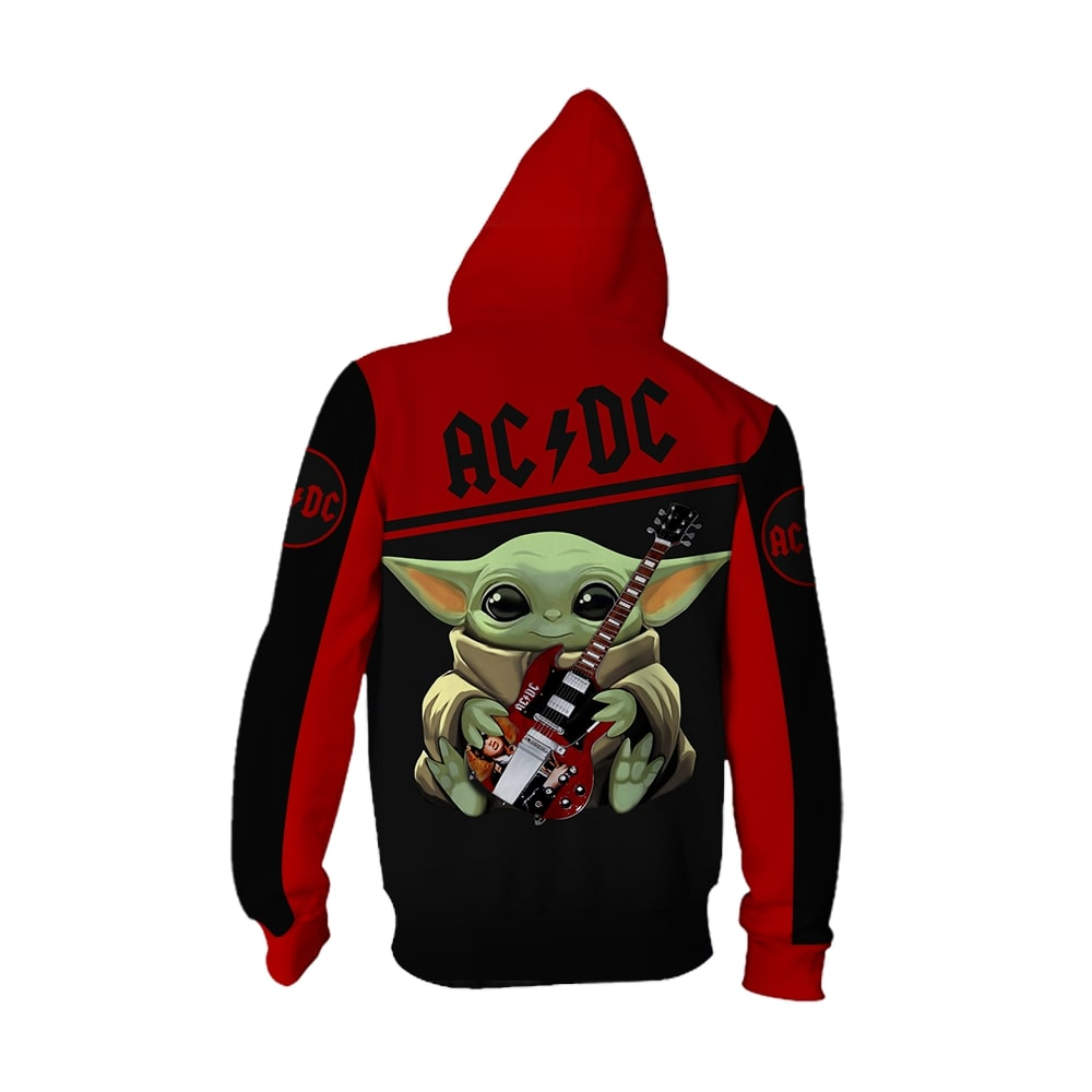 ACDC baby yoda all over print zip hoodie - back