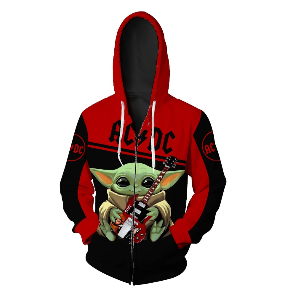 ACDC baby yoda all over print zip hoodie