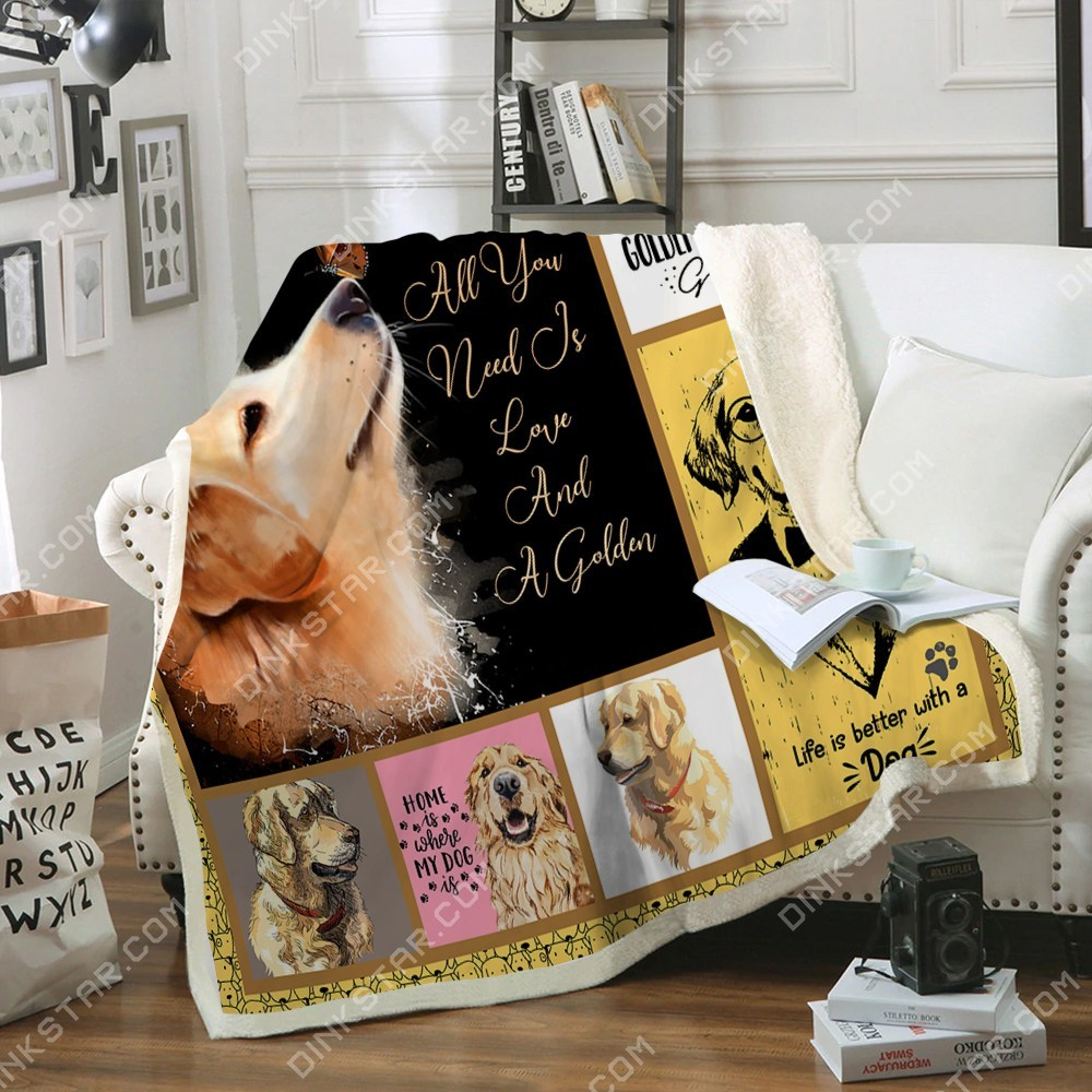 All you need is love and a golden retriever blanket 1