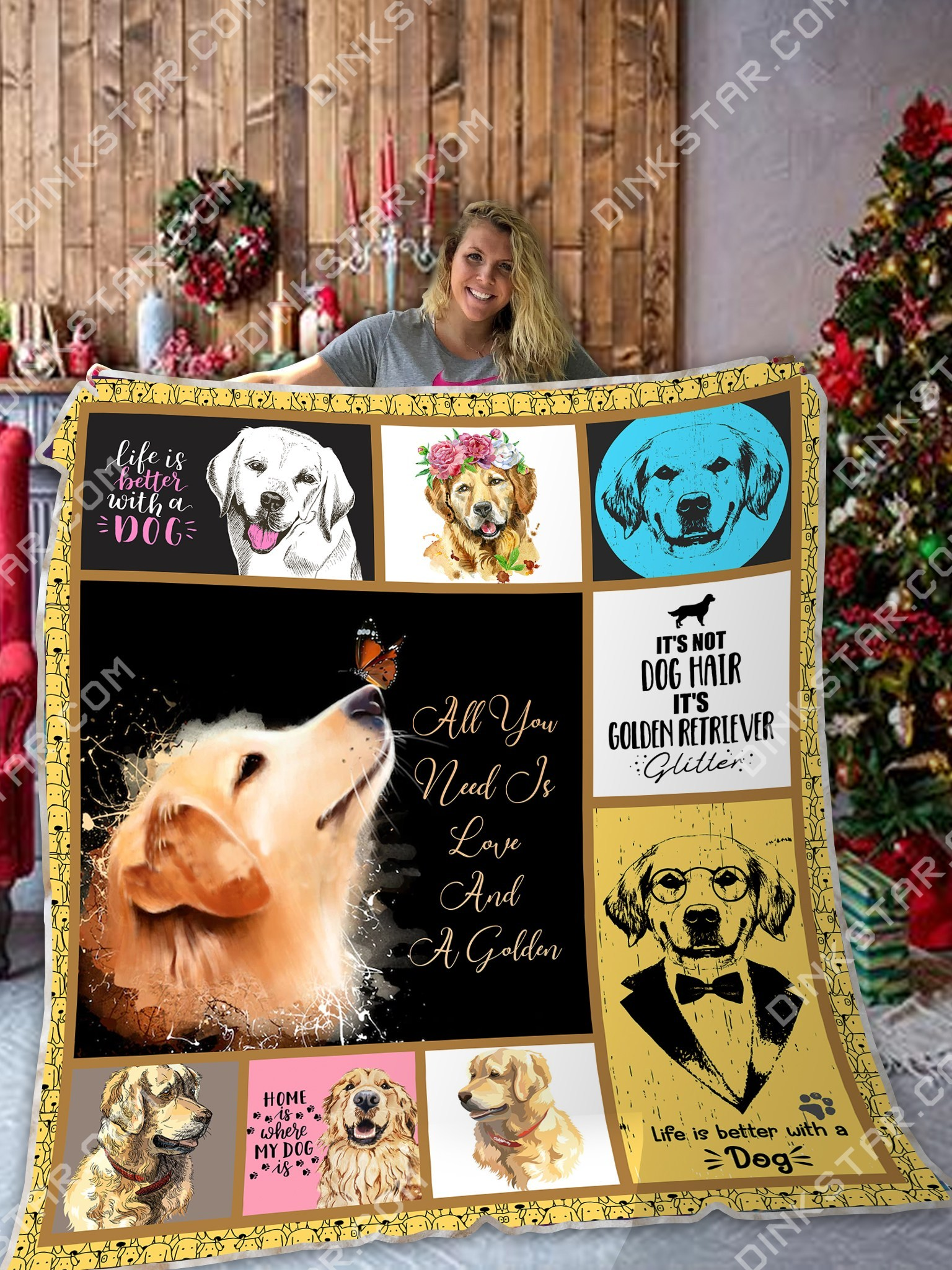 All you need is love and a golden retriever blanket 4