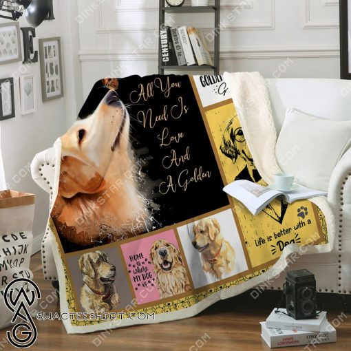 All you need is love and a golden retriever blanket