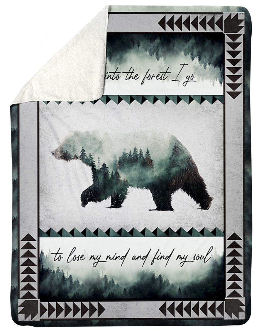 And into the forest i go to lose my mind camping bear blanket 1