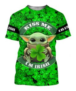 Baby yoda kiss me i'm irish st patrick's day all over print tshirt
