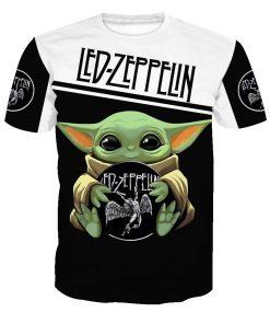 Baby yoda led zeppelin full printing tshirt