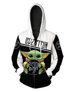 Baby yoda led zeppelin full printing zip hoodie
