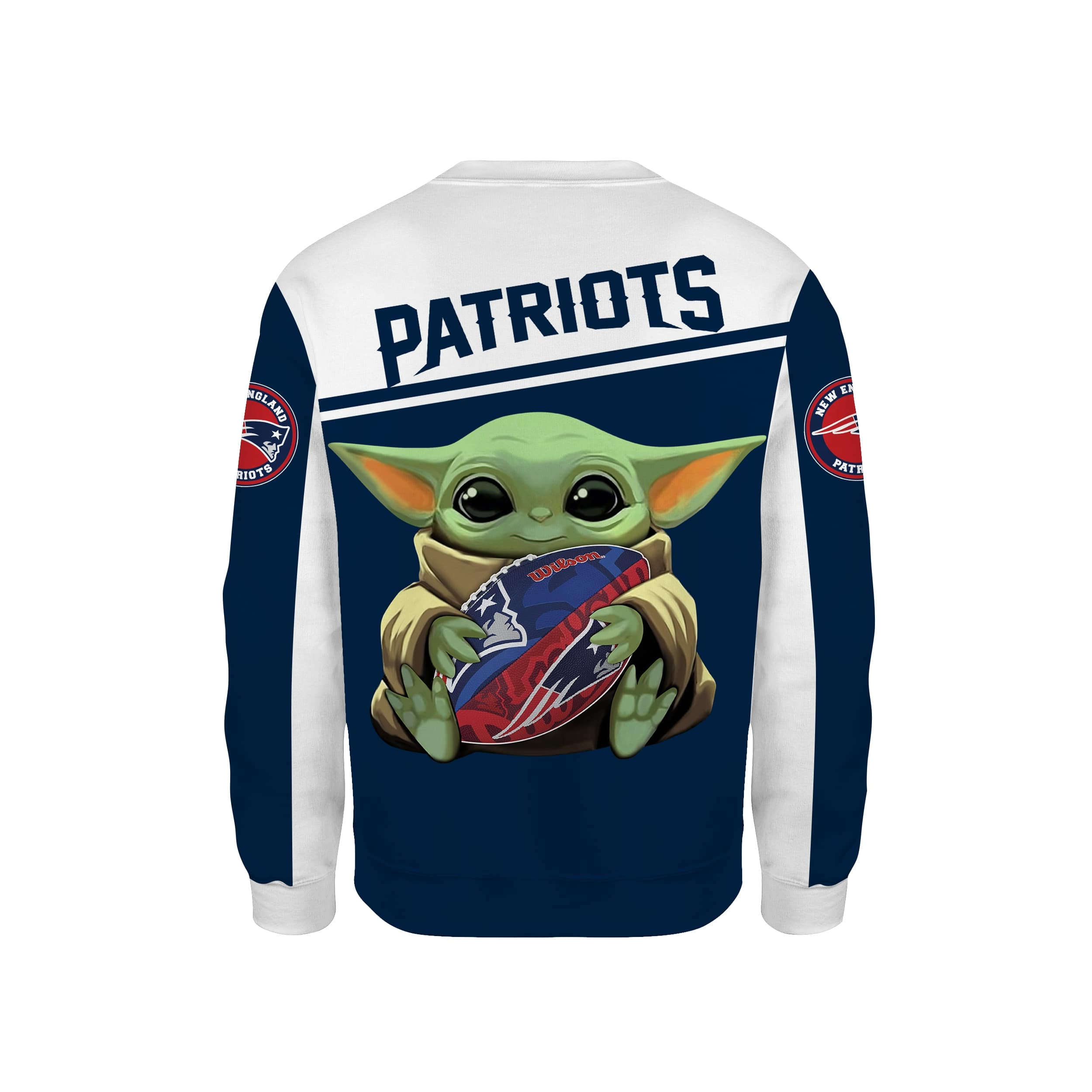 Baby yoda new england patriots full printing sweatshirt - back