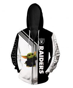 Baby yoda oakland raiders full printing zip hoodie
