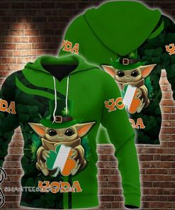 Baby yoda saint patricks day clover irish flag all over printed shirt