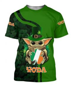 Baby yoda saint patricks day clover irish flag all over printed tshirt
