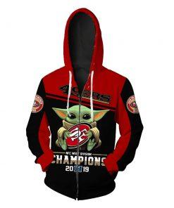 Baby yoda san francisco 49ers champions full printing zip hoodie