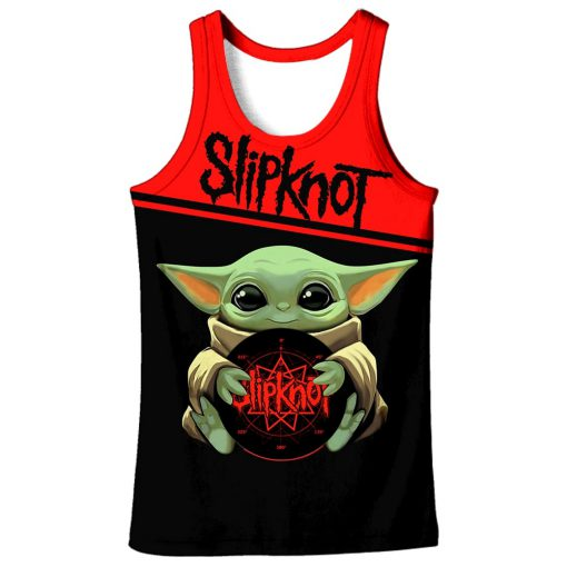Baby yoda slipknot all over printed tank top