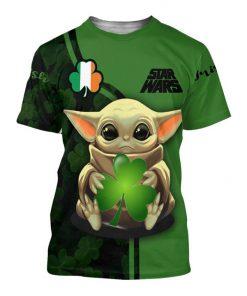 Baby yoda st patrick's day full printing tshirt