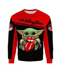 Baby yoda the rolling stones full printing sweatshirt