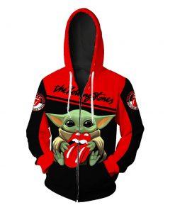 Baby yoda the rolling stones full printing zip hoodie