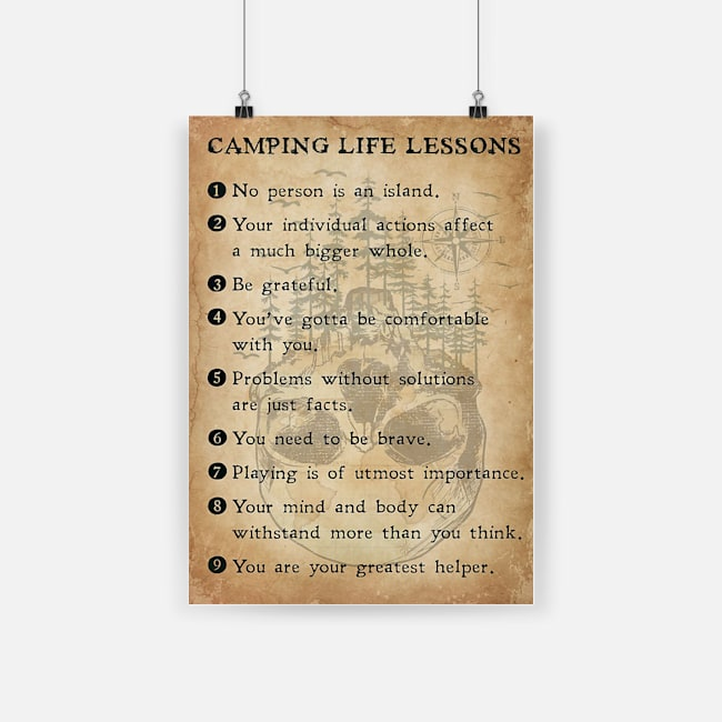 Camping life lessons poster 1