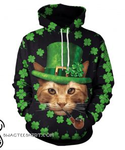 Cat st patricks day shamrock clover full printing shirt