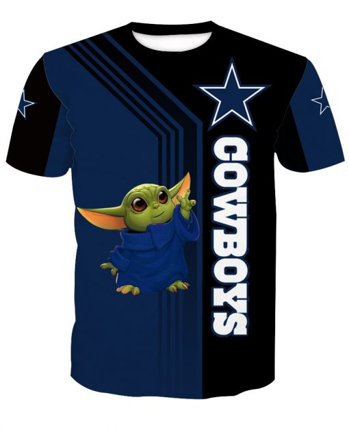 Dallas cowboys baby yoda full printing tshirt