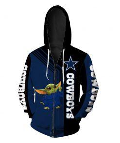 Dallas cowboys baby yoda full printing zip hoodie