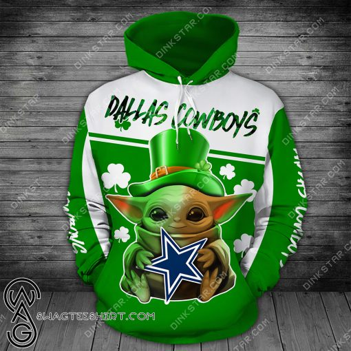 Dallas cowboys baby yoda saint patrick's day full printing shirt