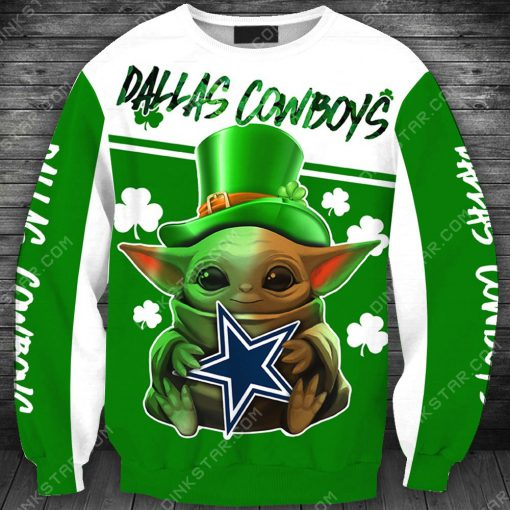 Dallas cowboys baby yoda saint patrick's day full printing sweatshirt