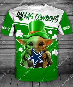 Dallas cowboys baby yoda saint patrick's day full printing tshirt