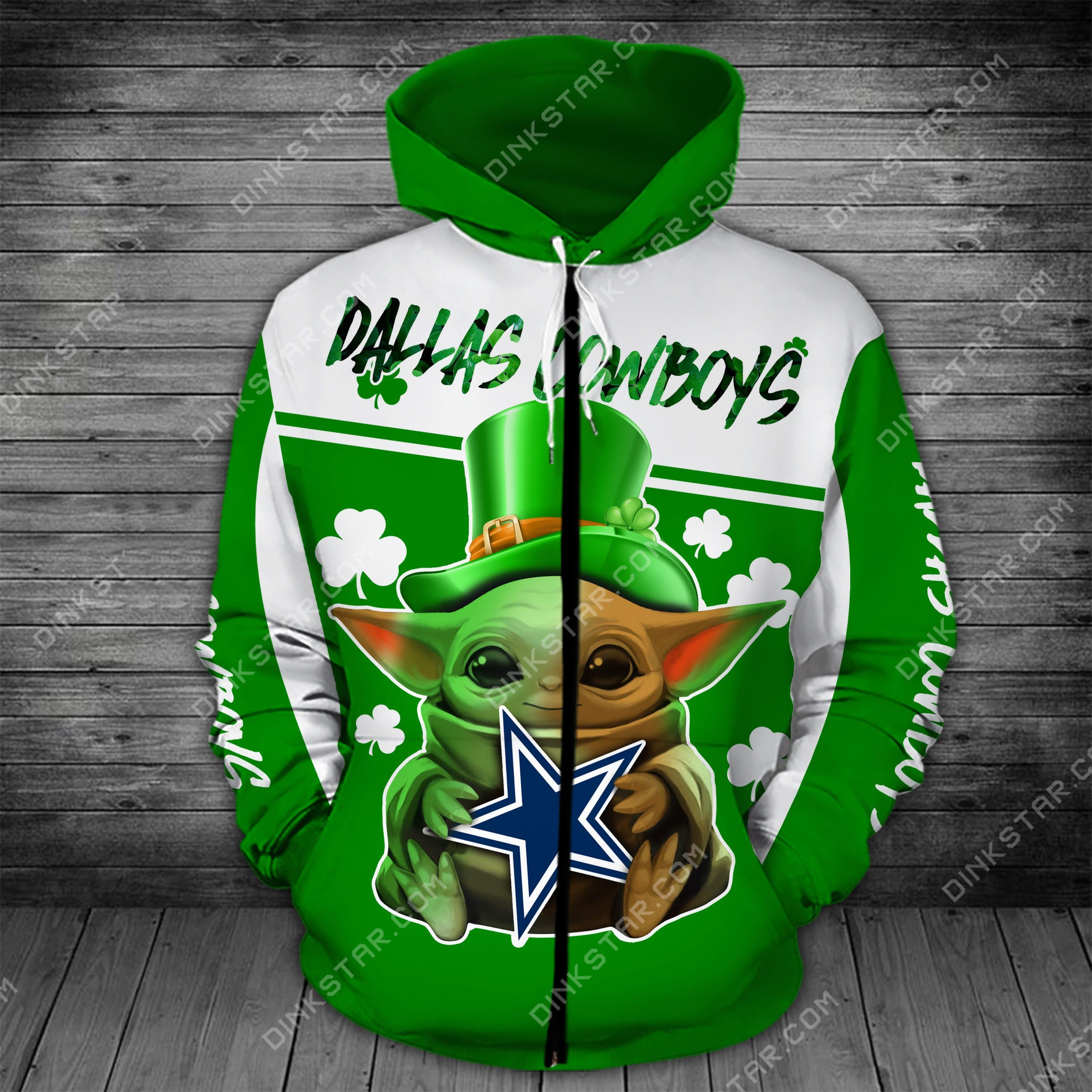 Dallas cowboys baby yoda saint patrick's day full printing zip hoodie