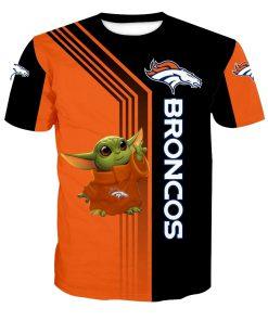 Denver broncos baby yoda full printing tshirt