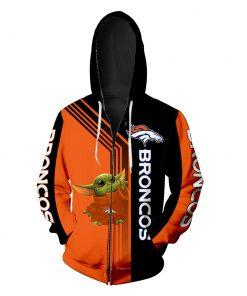 Denver broncos baby yoda full printing zip hoodie