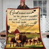 God looked down on his planned paradise so God made a farmer blanket