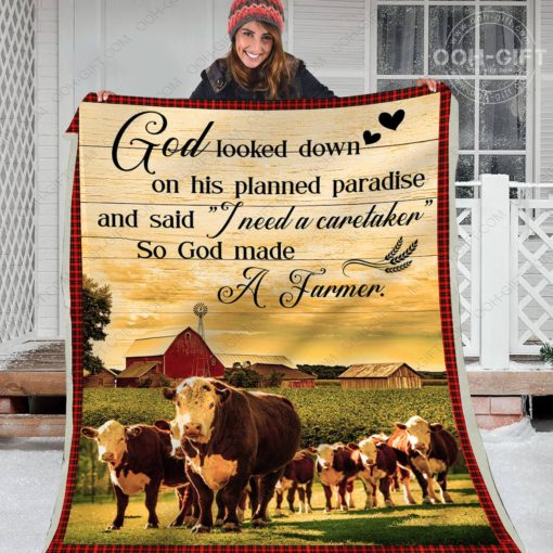 God looked down on his planned paradise so God made a farmer blanket 2