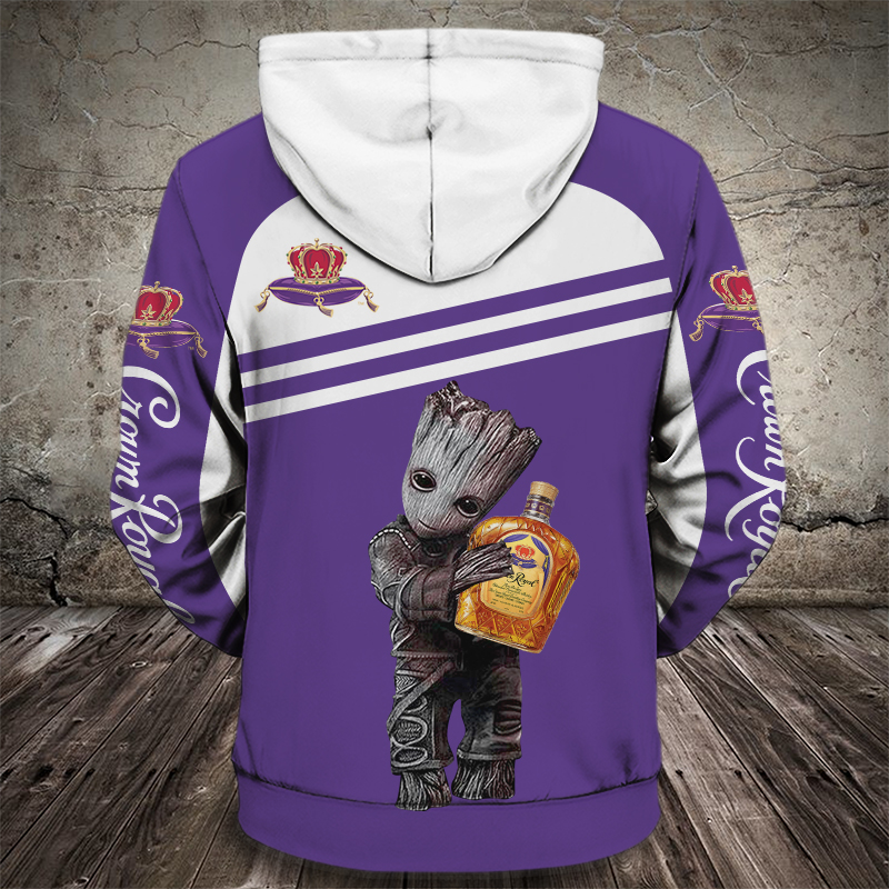 Groot hold crown royal full printing hoodie - back 1