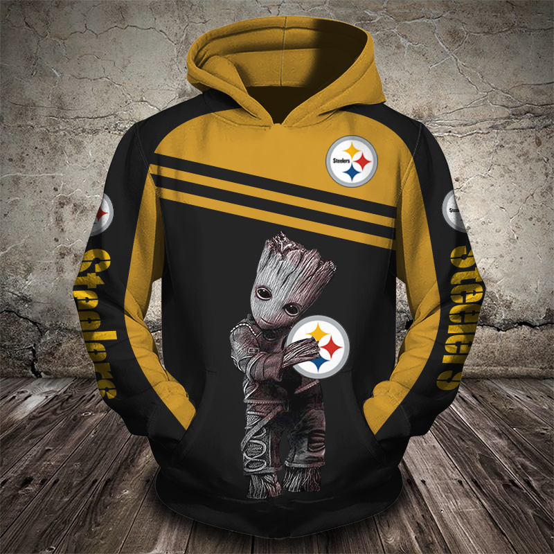 Groot hold pittsburgh steelers full printing hoodie 1