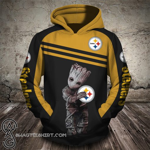 Groot hold pittsburgh steelers full printing shirt