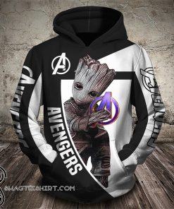 Groot hug avengers logo all over printed shirt