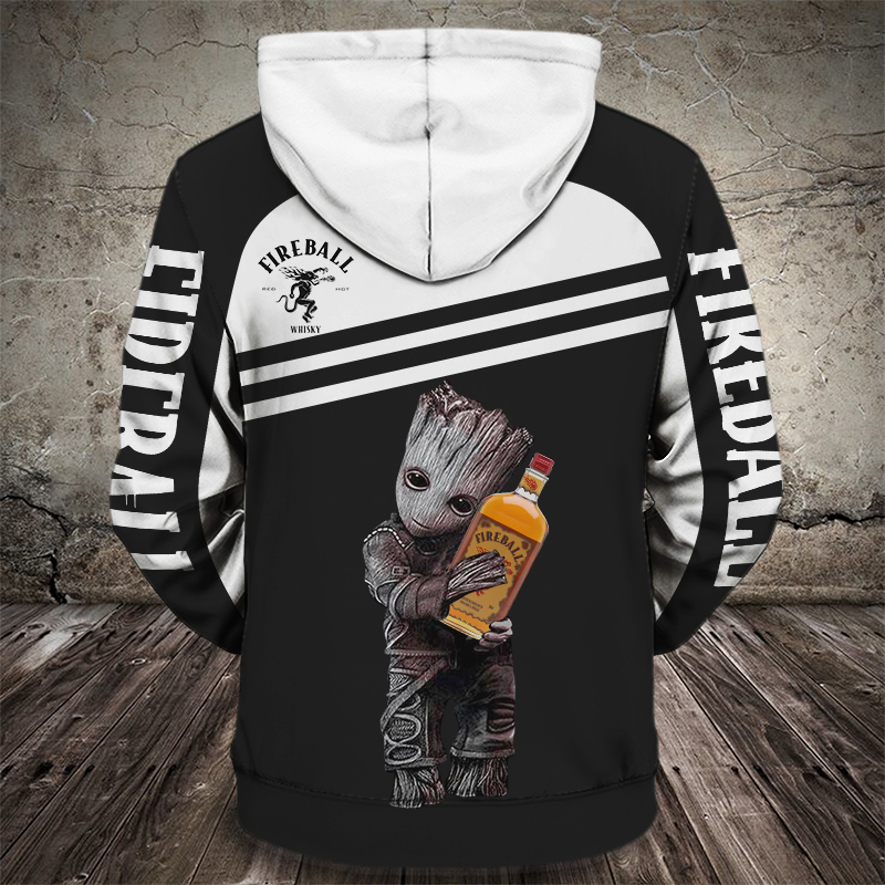 Groot hugs fireball whisky full printing hoodie - back 1